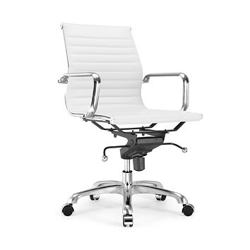 Century White Modern Classic Aluminum Office Chair (Set of 2)