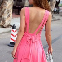 Backless Bow-knot Bound Waist Dress