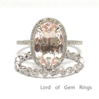 Oval Morganite Engagement Ring Sets Pave Diamond Wedding 14K White Gold 8x12mm Full Eternity Band