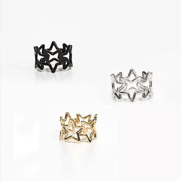 Hollow Star Ring Women Girls Gold Silver Black Midi Knuckle Rings Fashion Mid Finger Engagement Jewelry Accessories Wedding Band