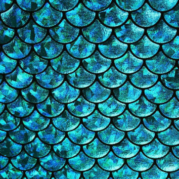 4-Way Stretch Blue Mermaid Hologram Spandex Metallic foil scales Fabric by the yard