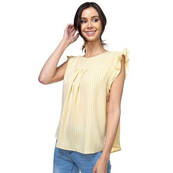 Ladies Ruffle Sleeve Stripe Top ()