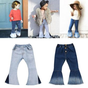 Fashion Newborn Toddler Kids Baby Girls Bell-Bottoms Flare Pants Denim Wide Leg Jeans Trousers 2-7Years