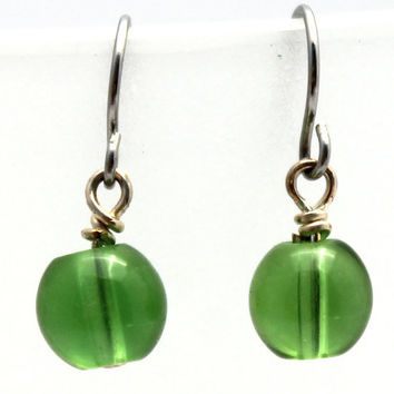 Green Glass Ball Dangle Earrings by SeventhChild on Etsy