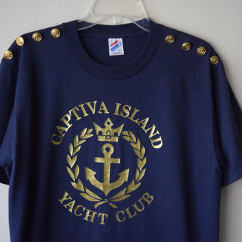 80s/90s Navy Blue Nautical T-Shirt w Gold Buttons - Captiva Yacht Club // Florida Tourist T-Shirt, Preppy Sailor Chic // Sz L