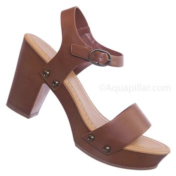 Check Faux Wood Block Heel Sandal - Wide Fit Boho One Piece Sculpted Clog