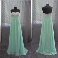 Custom Made Strapless Empire Beads Bodice Mint Chiffon Prom Dress,Evening Dress