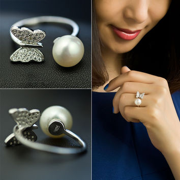 Gift Jewelry New Arrival Shiny Pearls 925 Silver Stylish Accessory Ring [7204783047]