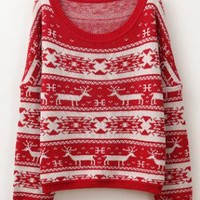 Leisure Fawn Pattern Sweater Red S002930