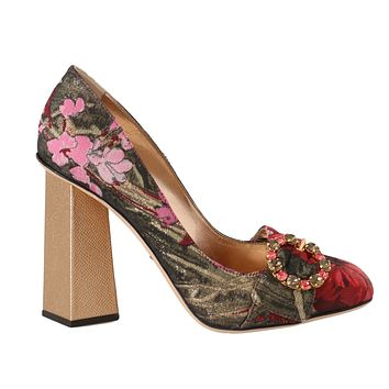 Dolce & Gabbana Red Jacquard Floral Crystal Pumps