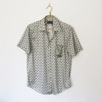 Mens Vintage 1970s Disco / Calvin Charles Geometric Print Polyester Button-down Shirt