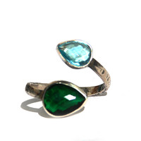 Green and Blue Zirconium Double stone Silver Ring