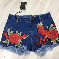 Fashion Multicolor Embroidery Flower Tassel Denim Shorts Hot Pants