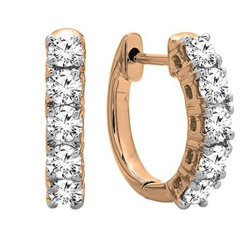 0.50 Carat (ctw) 10K Gold Real Round Cut White Diamond Ladies Huggies Hoop Earrings