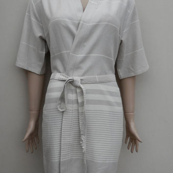 Kimono style women's beige colour soft cotton short bathrobe, dressing gown, bridesmaid robe, cover up, massage robe.