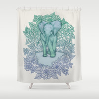 Emerald Elephant in the Lilac Evening Shower Curtain by micklyn