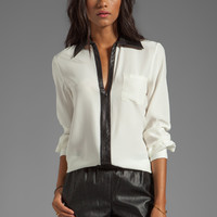 Parker Marin Combo Blouse in Creme from REVOLVEclothing.com