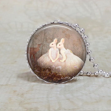 Rabbit necklace, glass tile jewelry woodland animal, bunny print, fall autumn winter, goth, human hybrids, brown white
