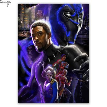 Black Panther Movie Poster (2018) Marvel Comics Hot Art Poster Silk Light Canvas Painting Print For Home Decor Wall Picture