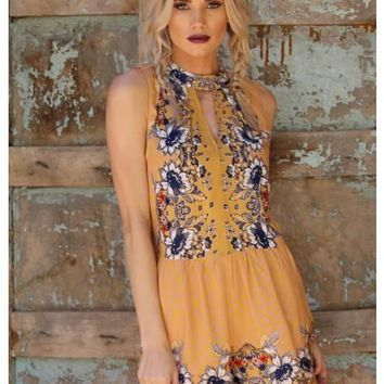 2018 Spring Women's Halter Floral Romper With Pockets the New Misses Line