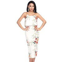 Women Sexy Sling Beach Dress Summer Bodycon Boho Off shoulder Floral Print Ruffle Party Dresses Long Vestidos White Black