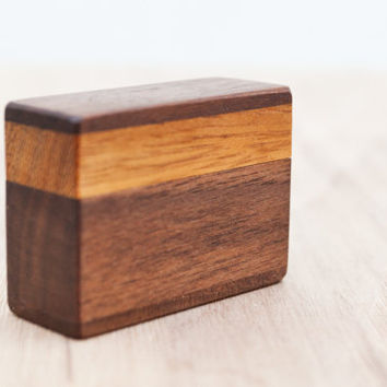 Ring box made from iroko and black walnut wood - engagement ring box - proposal ring box - MADE TO ORDER