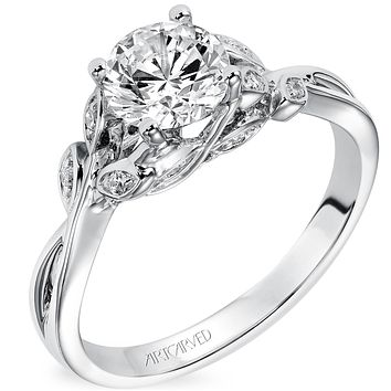 "Artcarved ""Corinne"" Diamond Engagement Ring Featuring Floral Carving Details"