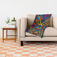 Groovy Doodle Colorful Art Throw Blanket by gx9designs