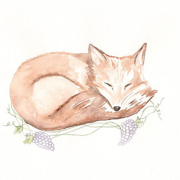 Little Fox  Watercolor Print