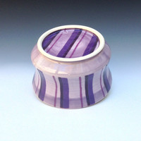 Large Yarn Bowl, Purple Porcelain Yarn Bowl, Striped Pattern, Ceramic Knitting Bowl