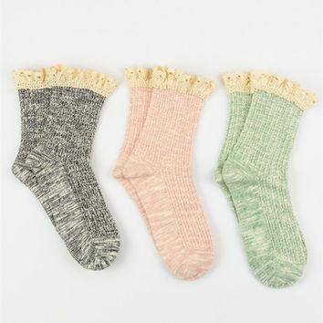 Crochet Ruffle Socks - Pack Of 3