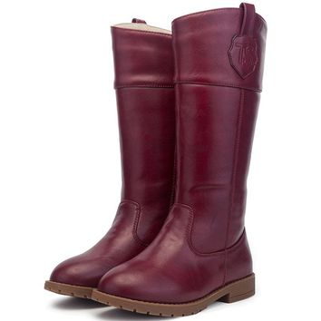 T.S. kids boots Knee - length boots and velvet children totem leather high boots Thick warm anti-skid winter boots wine red