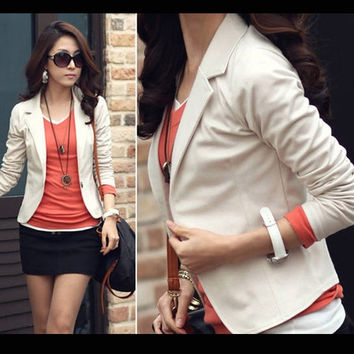 2014 New Trendy Slim Blazer Women ELEGANT LAPEL ONE BUTTON LONG SLEEVE Blazer Woman SHORT SUIT Jacket Lady BLAZER COAT = 1929548612