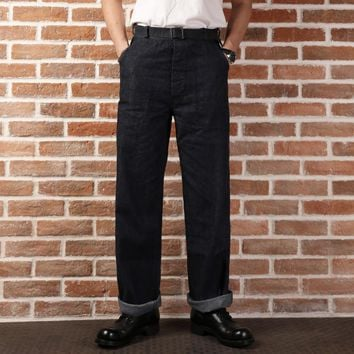 9oz casual straight high waist pants mans USN DUNGAREES vintage raw denim jean