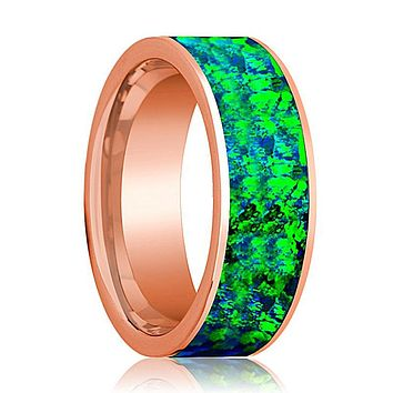Flat Polished 14k Rose Gold Wedding Band for Men with Emerald Green and Sapphire Blue Opal Inlay - 8MM