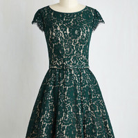 Mid-length Left in a Spin Dress in Emerald