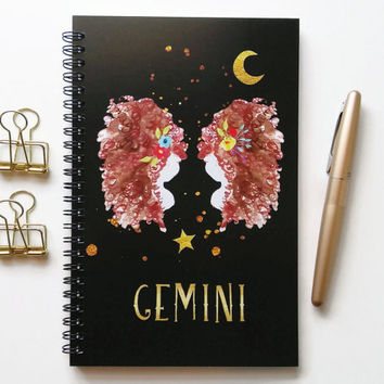 Writing journal, spiral notebook, bullet journal, black sketchbook, cute notebook, blank lined grid, zodiac sign, astrology - Gemini