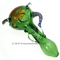 420 Glass Spoon Pipe - Green Honeycomb with Handle - Online Shop