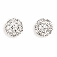 Rhodium Plated 6mm Round Cubic Zirconia Pave Side Post Earrings