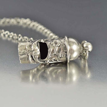 Antique French Silver Chatelaine Whistle Necklace