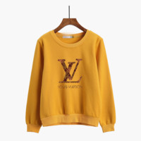 """Louis Vutitton"" Women Casual Multicolor Logo Letter Print Thickened Long Sleeve Sweater Tops"