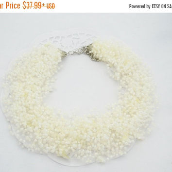 SALE Beige necklace Ivery necklace necklace cream milk necklace Luxuriant air dairy wedding necklace multistrand necklacev Lemon chiffon
