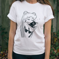 SALE*** Anime shirt Sailor Moon shirt Usagi Luna anime tee kawaii otaku cosplay tumblr manga print anime gift for her