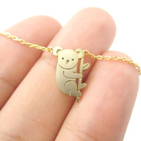 2016 New Small Koala Bear and Branch Shaped Animal Charm Necklace in Gold Handmade Cute Animal Jewelry Pendant Necklace N136