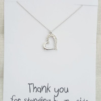 Silver Toned Heart Rhinestones Pendant Thank You Friends and Family Gift Card Woman Fashion Necklace