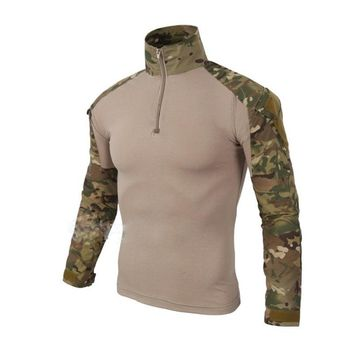 Outdoor T-Shirt Men Long Sleeve Army Military Camouflage Hiking Shirt