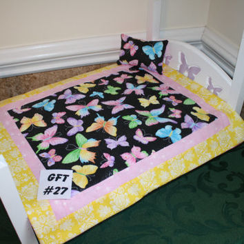 """American Girl sized, reversible doll bed quilt 17.5"""" x 20"""" with matching pillow 4"""" x 6"""""""