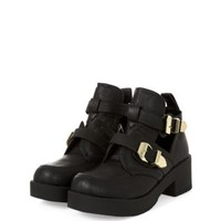 Black Chunky Buckle Strap Cut Out Ankle Boots