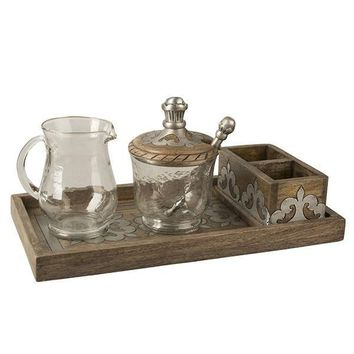 GG Heritage Wood and Metal Inlay Cream and Sugar Set