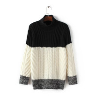 Casual Multicolor Long Sleeve Top Sweater Pullover High collar